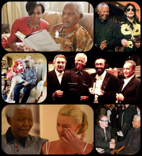 Michelle Obama, Michael Jackson , Celine Dion , Plácido Domingo, Jose Carreras , Luciano Pavarotti , Charlize Theron , Bono Vox , entre muchas personalidades , rindieron tributo a Mandela  a lo largo de  su vida.