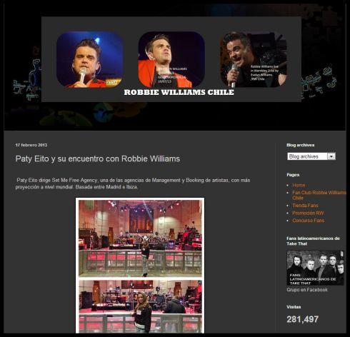 Desde Chile recibí el apoyo del club de Fans de Robbie Williams !! Gracias!!
