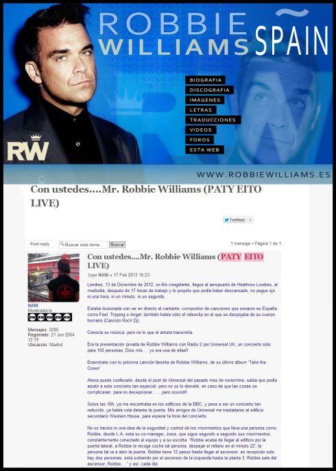 Muchas gracias al club de fans de Robbie Williams Spain!!
